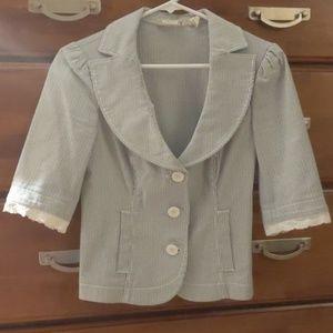 Guess Pinstripe Blazer w/ Lace Detail